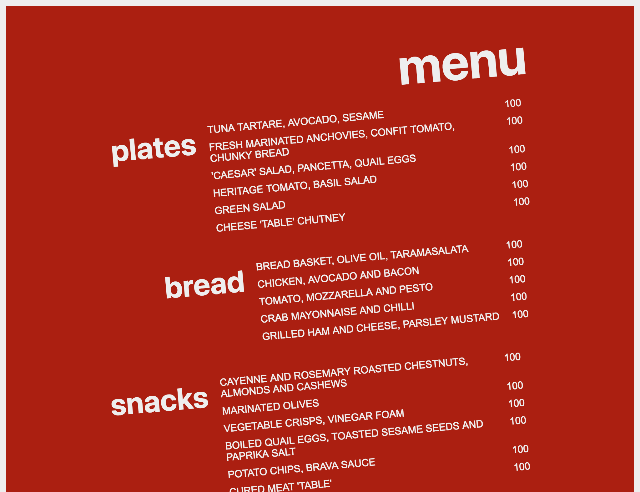 menu with styles